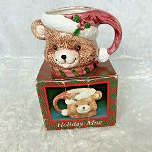 New Vintage Holiday Teddy Bear Santa Mug For Decor